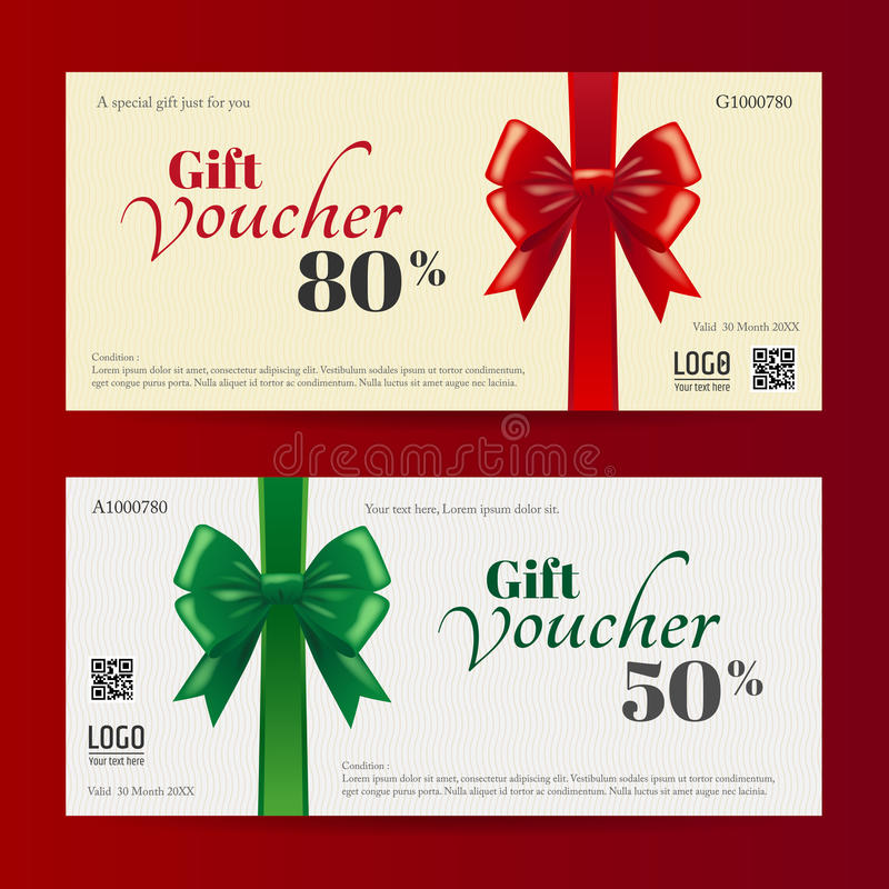 Elegant Christmas Gift Card Or Gift Voucher Template Stock Vector