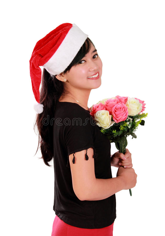 Elegant Christmas girl portrait royalty free stock photography
