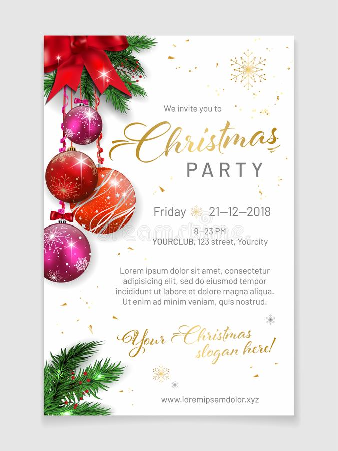 Elegant christmas party poster template with sample text. In separate layer - vector illustration royalty free illustration