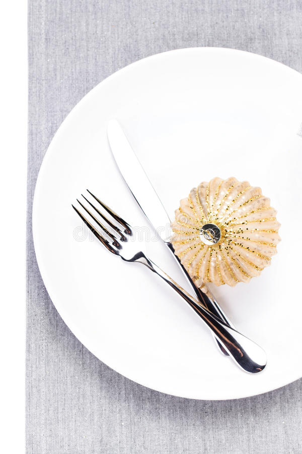 Download Elegant Christmas Table Setting With Festive Decorations On Whit Stock Photo - Image: 35533230