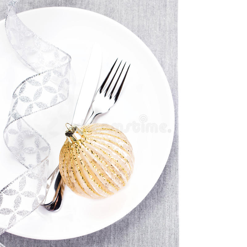 Elegant Christmas Table Setting With Festive Decorations On Whit Royalty Free Stock Images