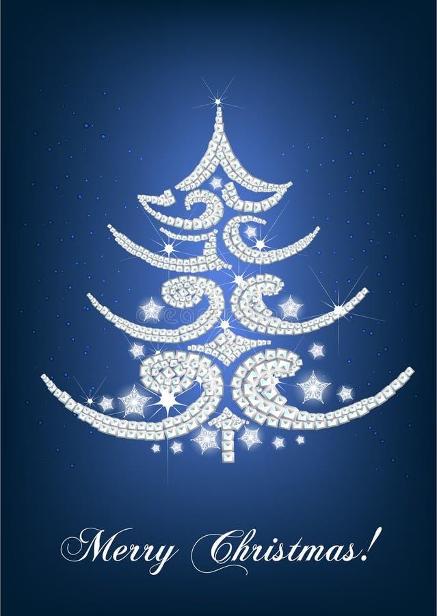 Download Elegant Christmas Tree Card On Blue Royalty Free Stock Photo - Image: 21317285