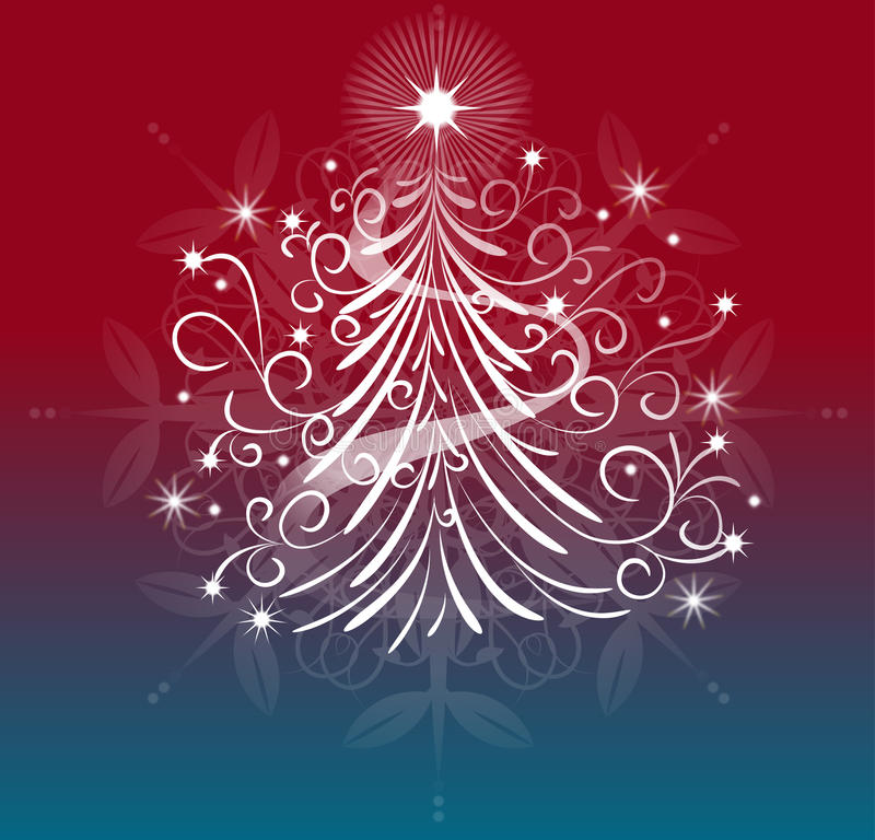 An elegant christmas tree design. Illustration of a whimsical christmas tree with a blue and red background stock illustration