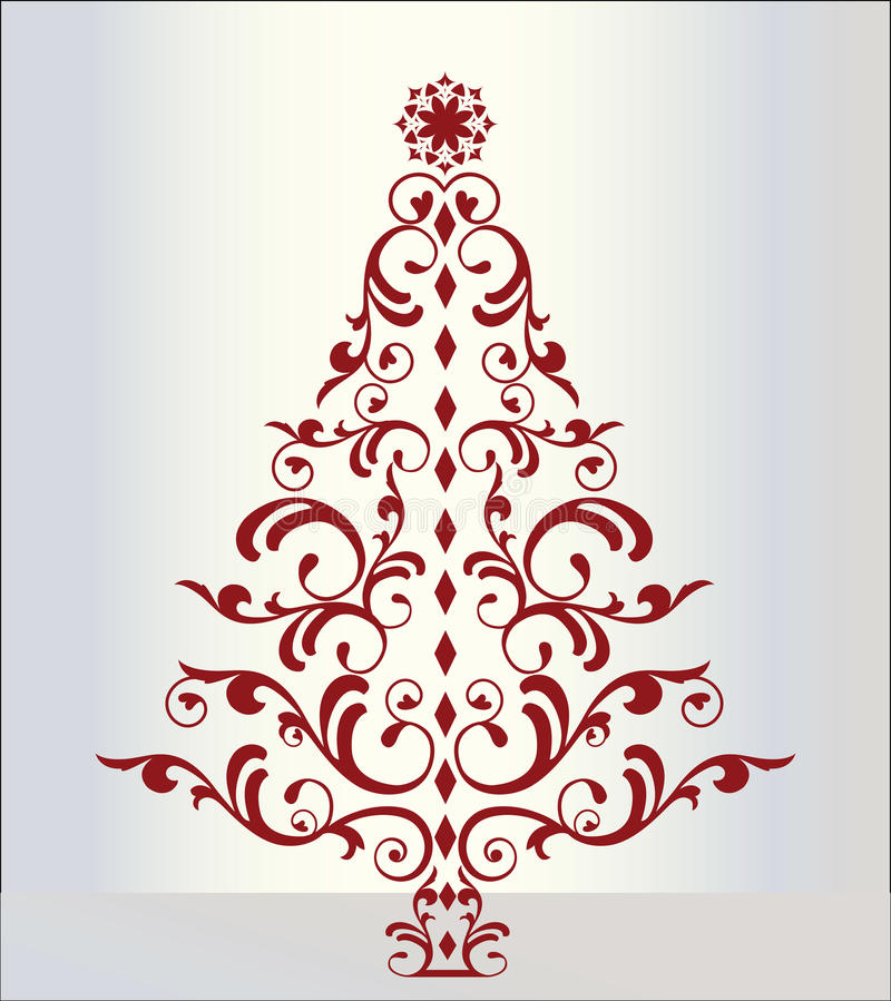 Sophisticated Christmas Tree: Elegant Christmas Tree In Red Stock Vector