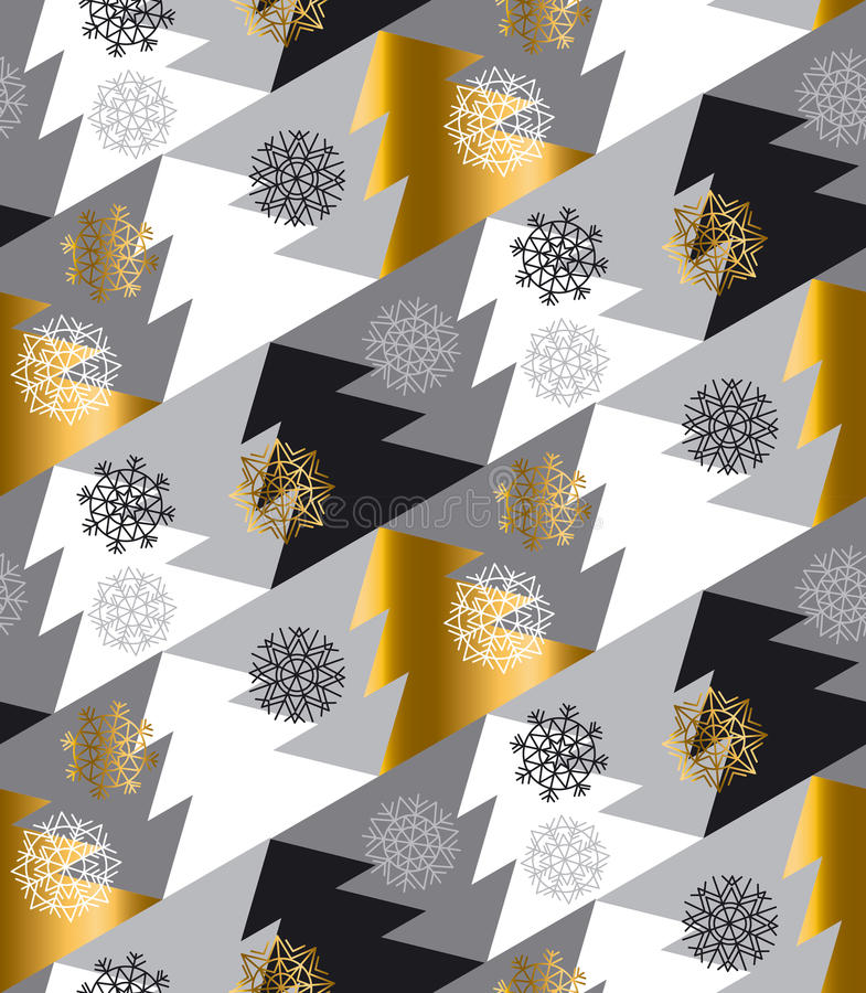 Elegant Christmas tree seamless geometry pattern in luxury gray royalty free illustration