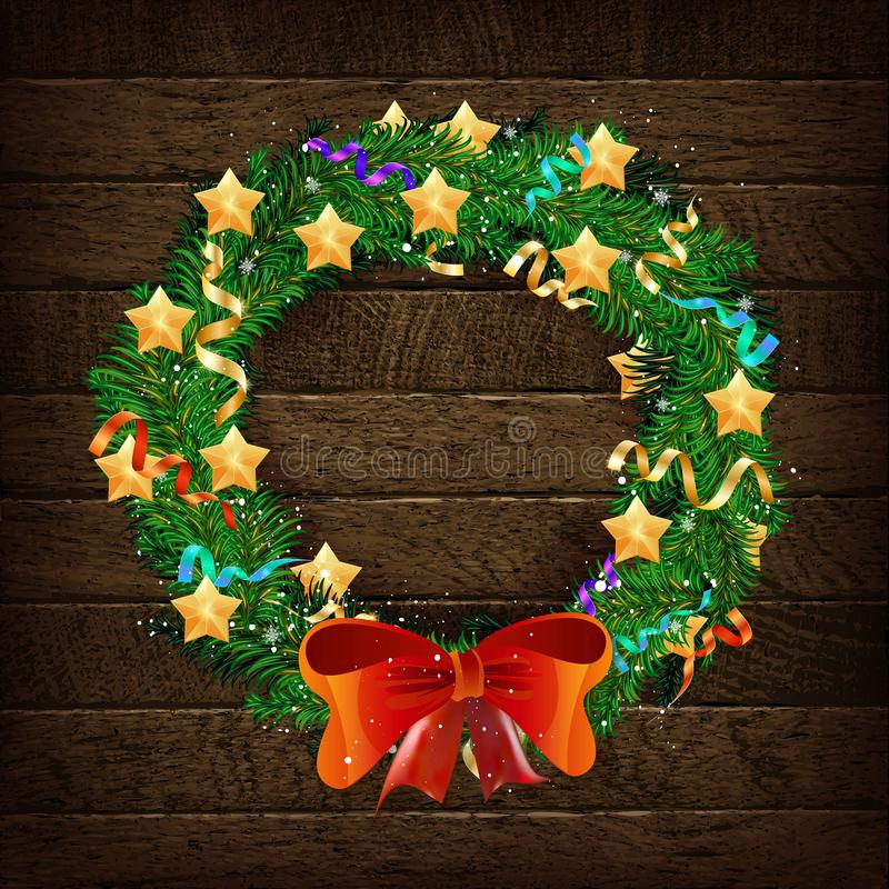 Elegant Christmas wreath with stars and bow. On a beautiful vintage wooden background. Vector illustration stock image