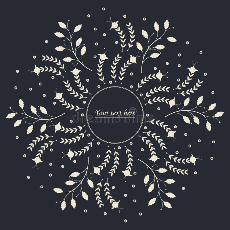 Elegant cirkelfarme med gulliga blommor och sidor vektor illustrationer