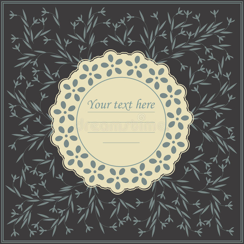 Elegant cirkelram med blommor royaltyfri illustrationer