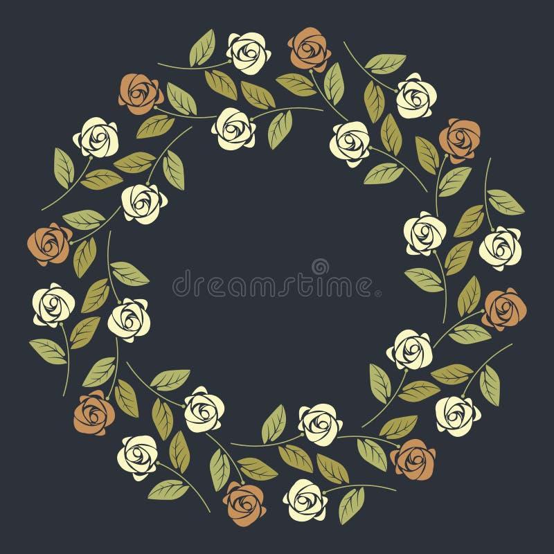 Elegant cirkelram med färgrika rosor på blå bakgrund vektor illustrationer