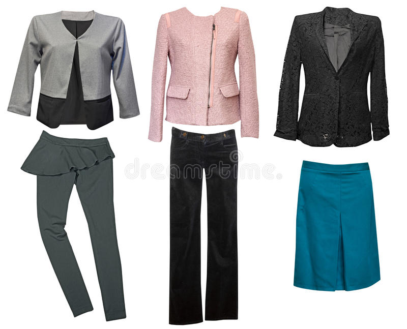 Elegant classic female clothes collage. Woman wear set. stock images