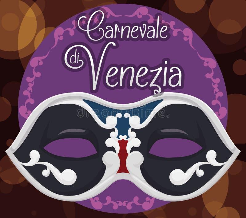 Elegant Colombina-Masker over een Bokeh-Achtergrond voor Venetië Carnaval, Vectorillustratie stock illustratie