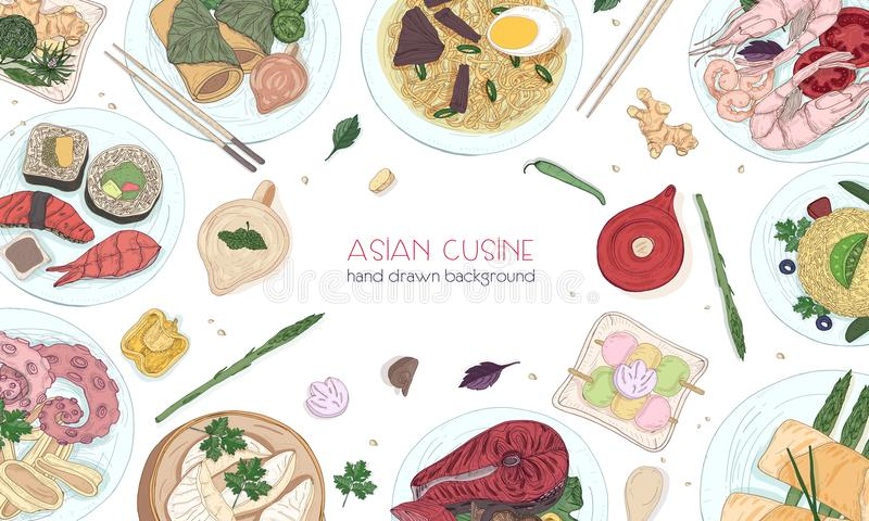 Elegant colored hand drawn background with traditional Asian food, detailed tasty meals and snacks of oriental cuisine - royalty free illustration