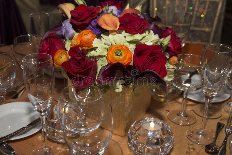 Elegant Colorful Floral Setting royalty free stock images