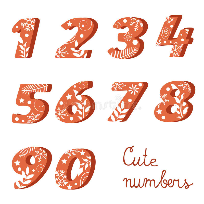 Elegant colorful numbers collection vector illustration