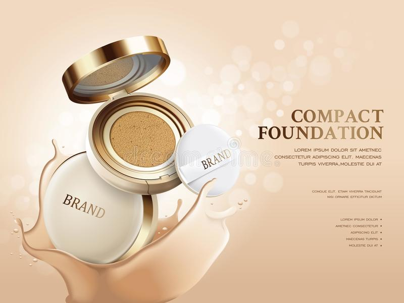 Elegant compact foundation ads. 3d illustration foundation product with its texture splash on the background royalty free illustration
