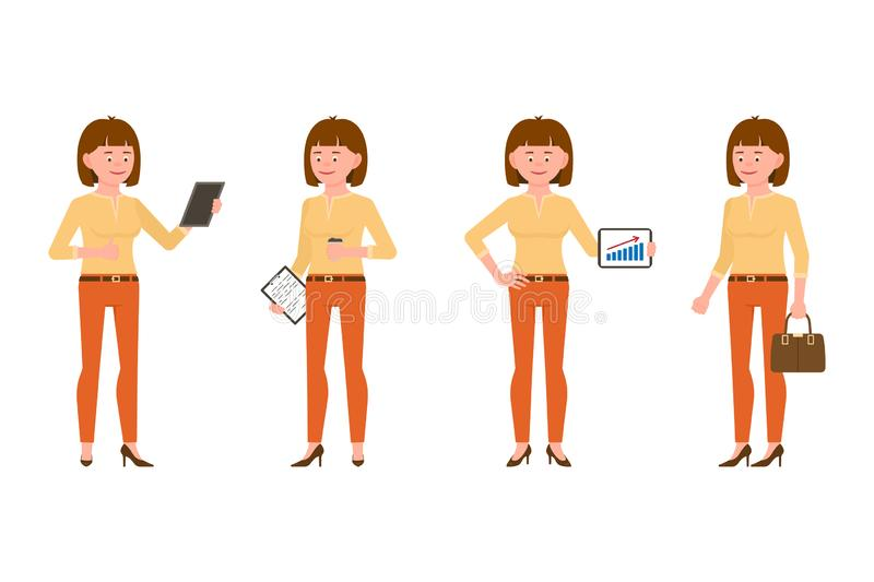 Elegant, confident brown hair young woman vector. Reading, standing with notes, tablet, coffee, briefcase girl character set royalty free illustration