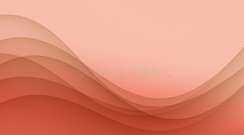 Elegant coral peach soft wavy curves abstract wallpaper background stock illustration