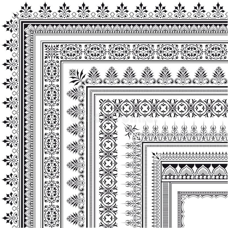 Ornamental corner border made of multiple frames royalty free illustration