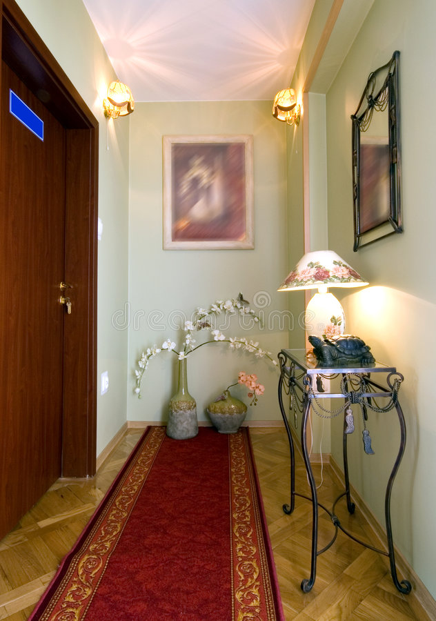 Elegant corridor. Hotel corridor with neat decorations stock photos