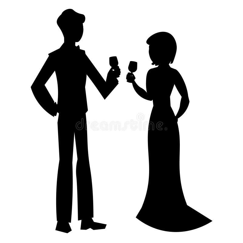 Elegant couple in evening dress silhouette stock illustration
