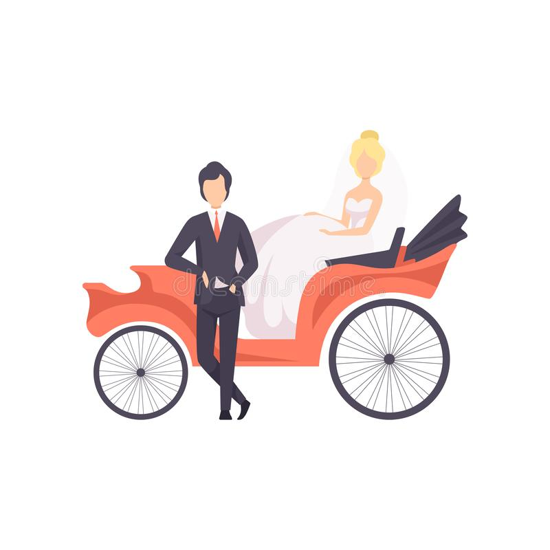 Elegant couple of newlyweds posing in a wedding carriage vector Illustration on a white background vector illustration