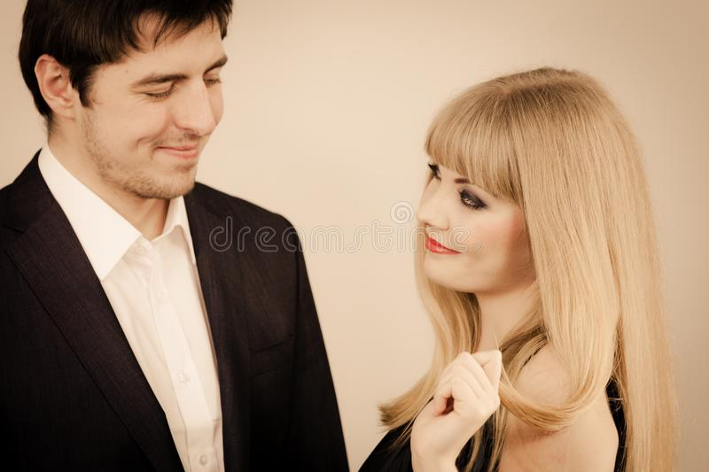 Elegant couple on perfect date royalty free stock images