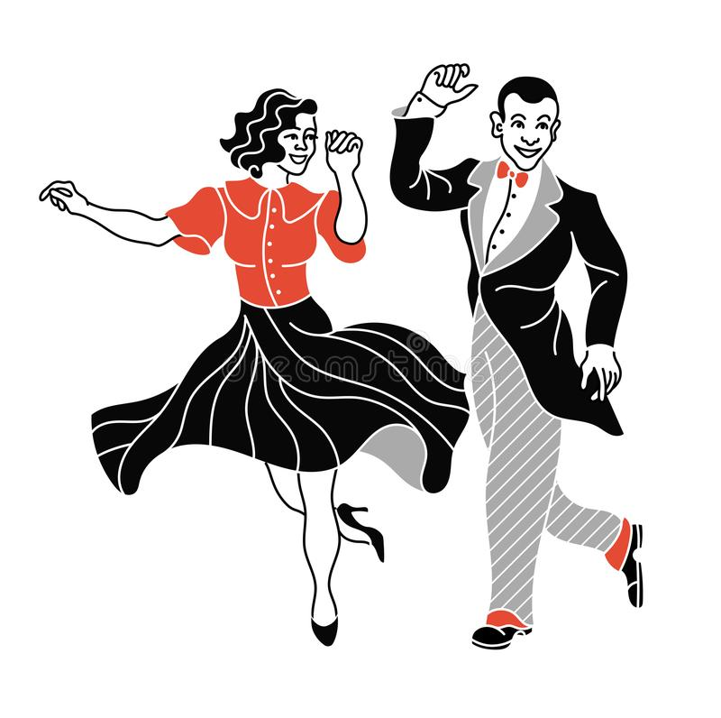 Retro dance couple silhouette. Vintage silhouette dancer. Charleston party dance vintage people isolated on white background. vector illustration
