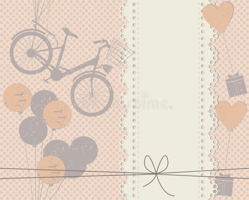Elegant cover with lace frame, balloons, gifts and hearts vector illustration