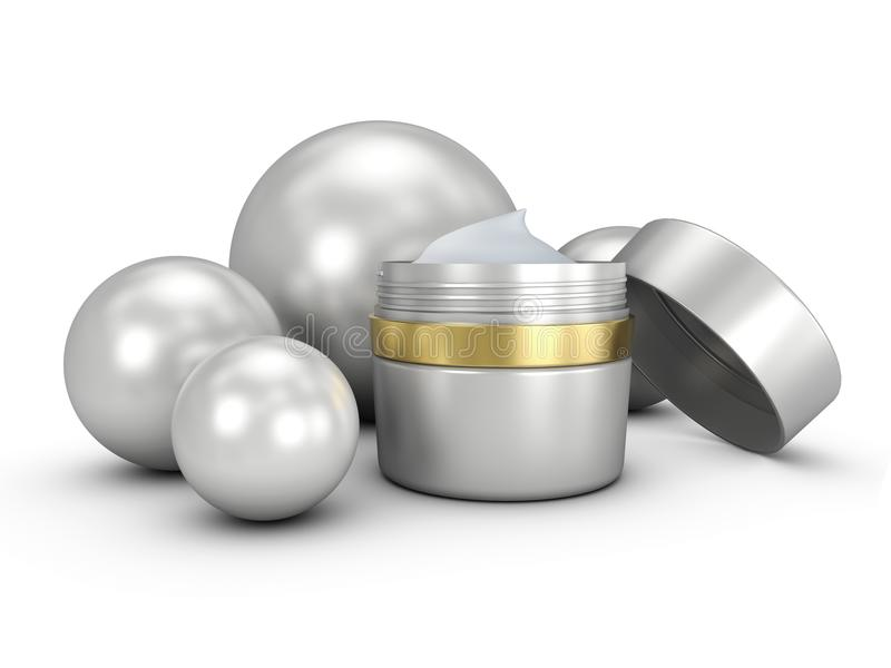 Elegant cream container, 3D illustration cosmetic bottle template for cream or gel. royalty free illustration