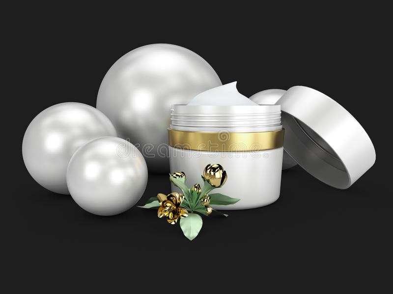 Elegant cream container with sphere, cosmetic bottle template for cream or gel. 3D illustration isolated black stock illustration