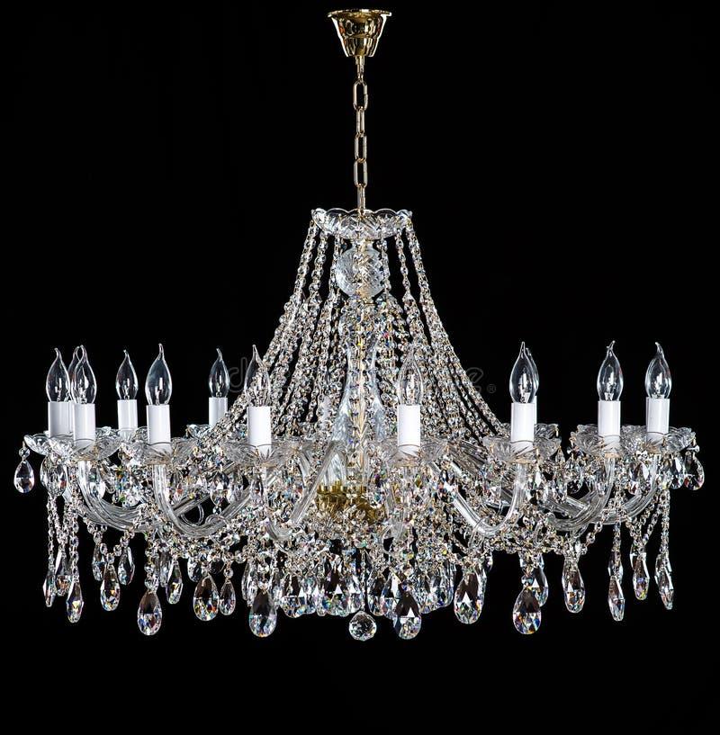 Elegant crystal strassljuskrona med tio lampor arkivbilder
