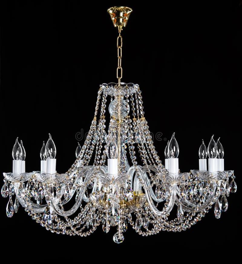 Elegant crystal strassljuskrona med tio lampor arkivfoton
