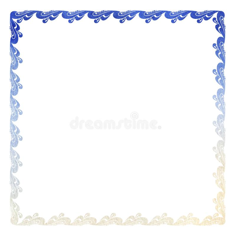 Elegant curl frame with floral ornament of gradient blue shades in baroque style. Ornate decorative element for design royalty free illustration