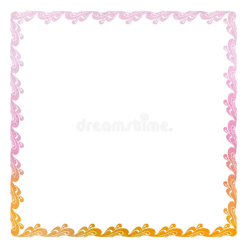 Elegant curl frame with floral ornament of purple and orange shades in baroque style. Ornate decorative element for stock illustration