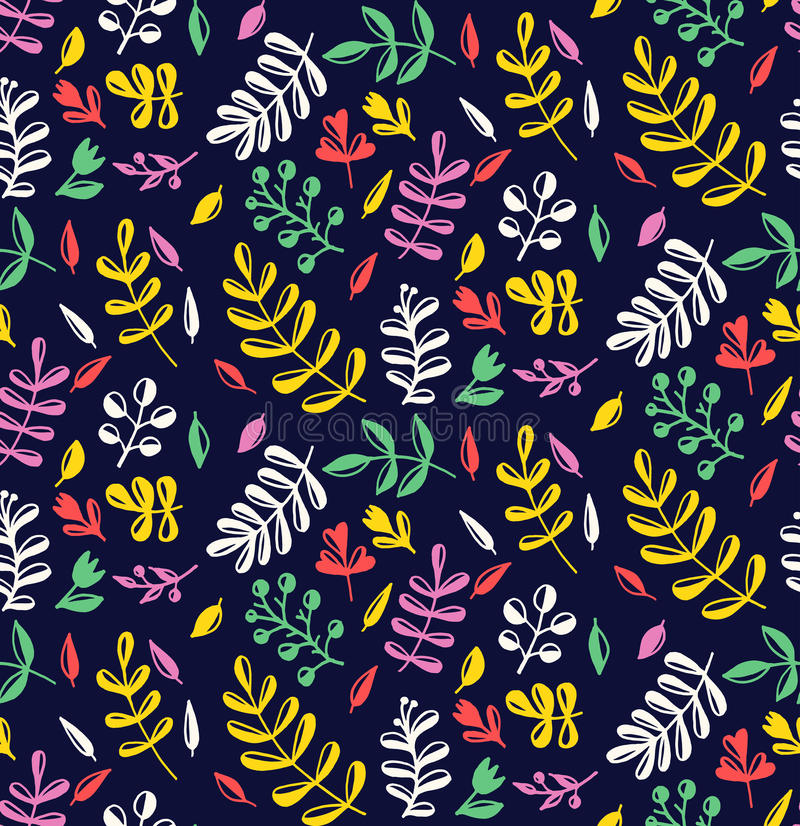 Elegant cute doodle floral seamless vector pattern vector illustration
