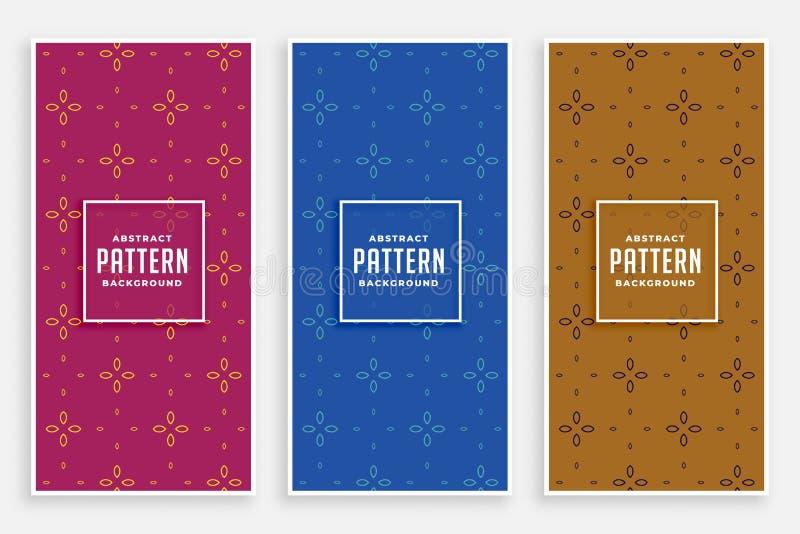 Elegant cute flower pattern banners vector illustration