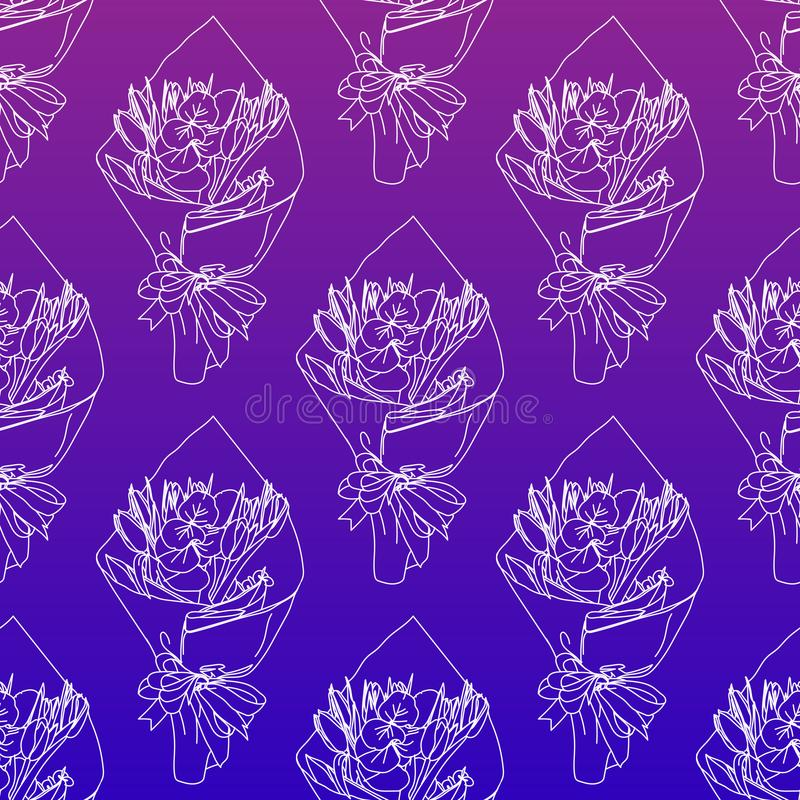 Elegant and cute illustration, ornament. Printing for textile and industrial purposes. A bouquet of flowers in a paper. Hand drawn bouquet. Elegant and cute royalty free illustration