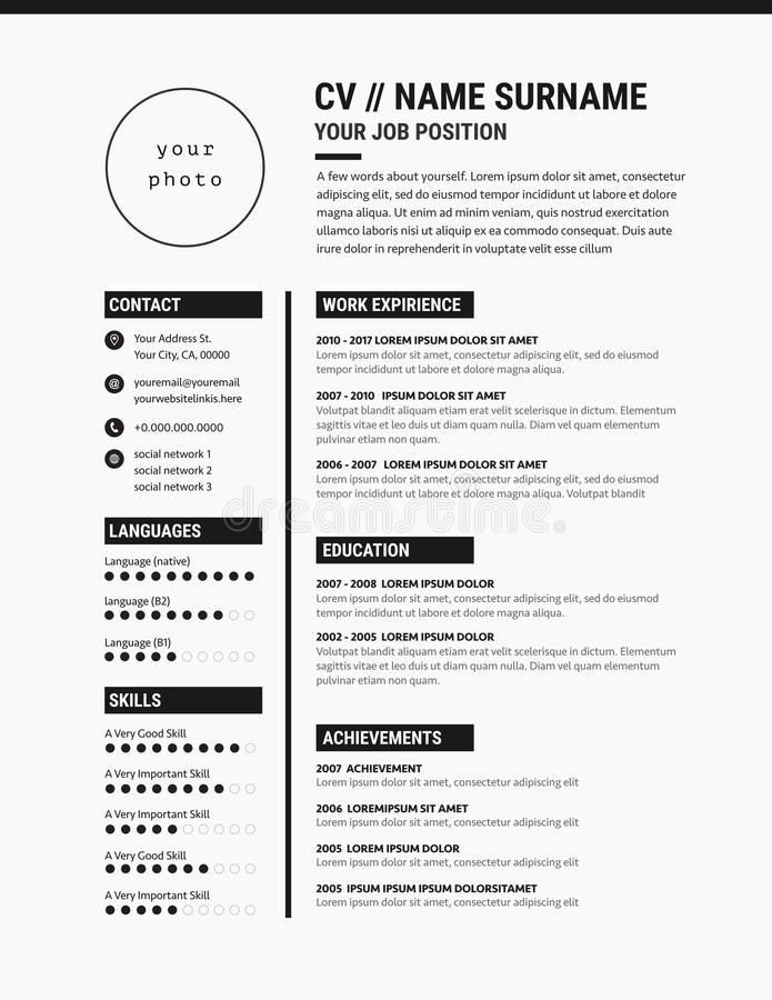 Elegant CV Resume Template Minimalist Black And White Stock Vector
