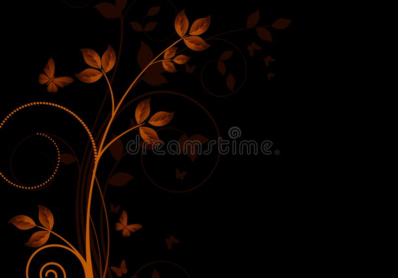 Elegant dark background with swirls and little flowers and space for your text stock illustration