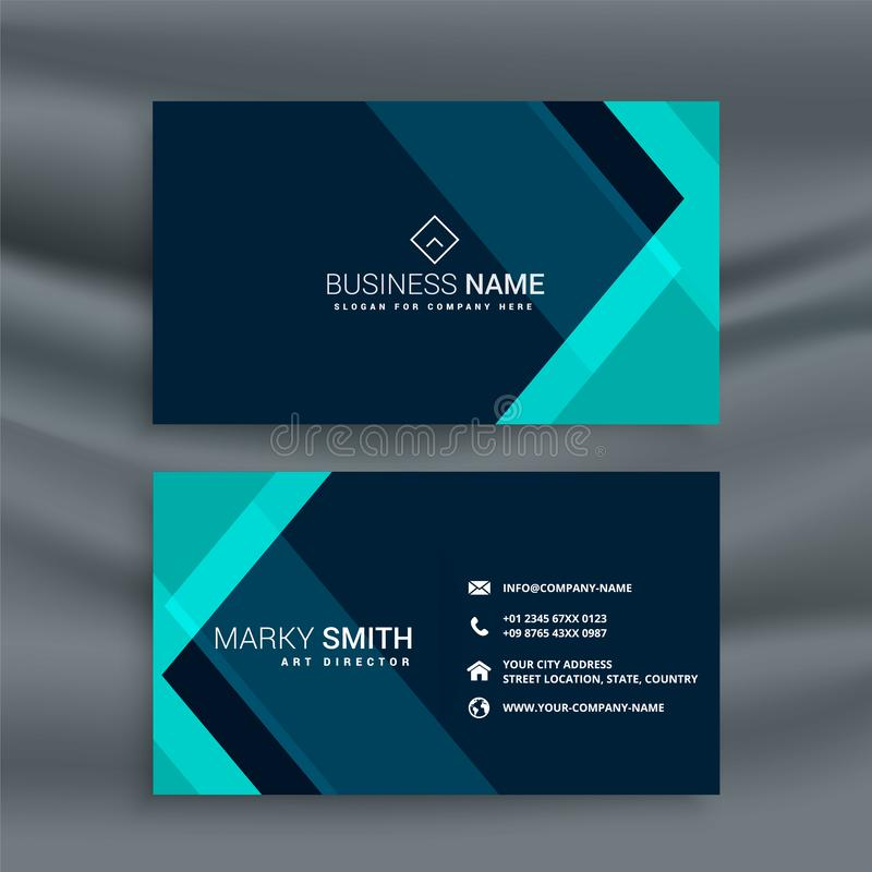 Elegant dark blue business card template. Vector royalty free illustration