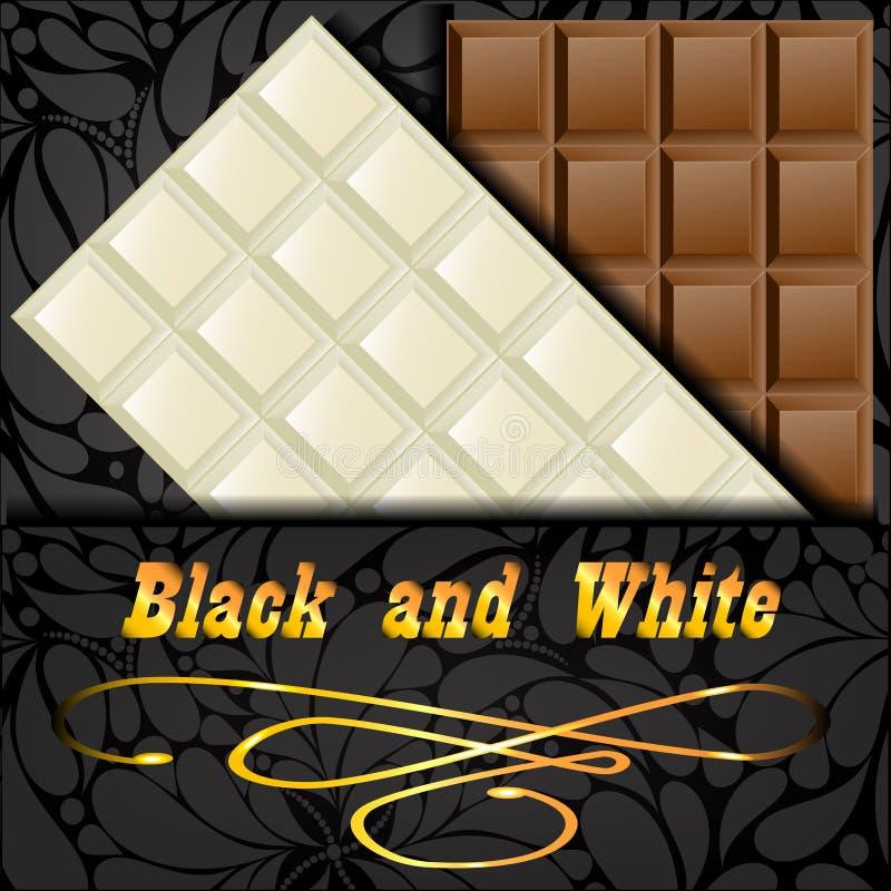Elegant dark envelope with two kinds of chocolate stock illustration