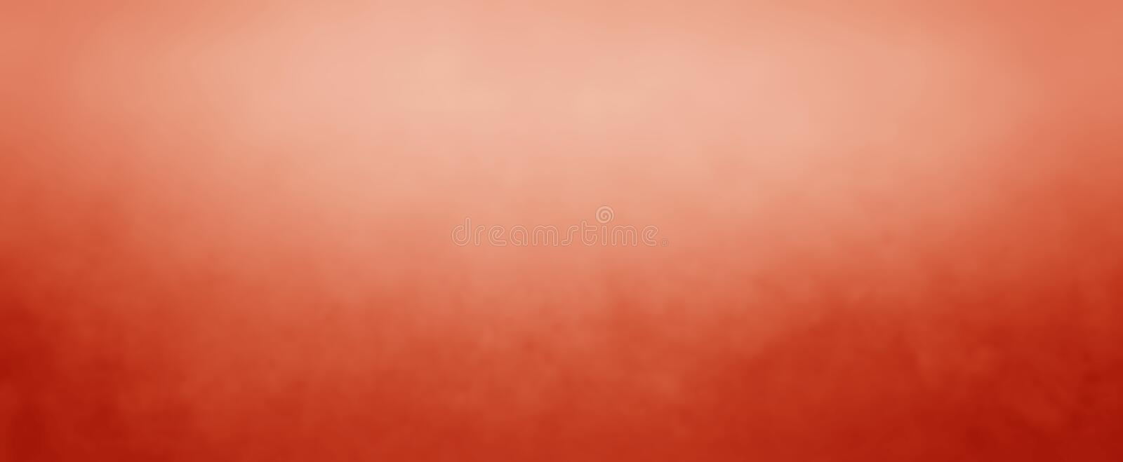 Red orange background with white and peach hazy top border and dark orange grunge texture bottom border. Elegant dark and light red orange background with white royalty free illustration