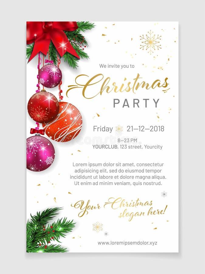 Elegant de affichemalplaatje van de Kerstmispartij met steekproeftekst royalty-vrije illustratie