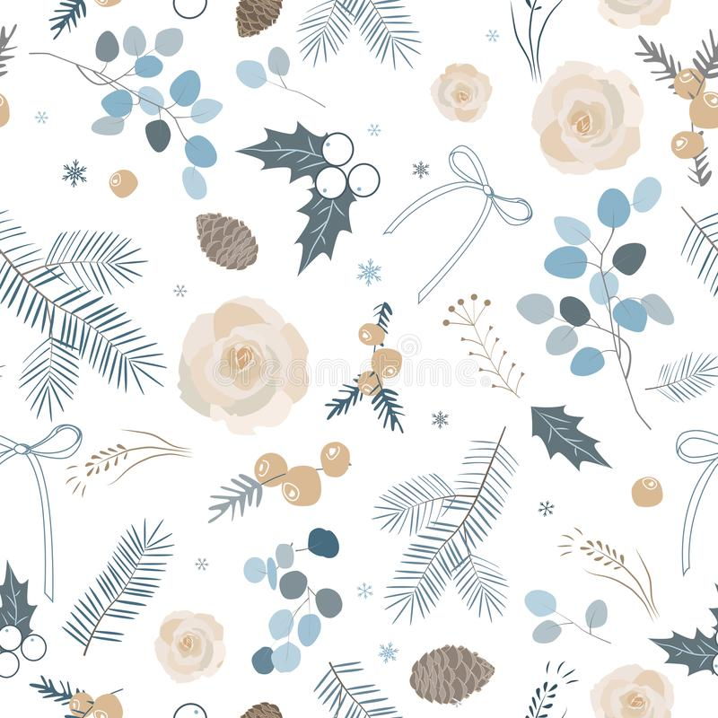 Elegant de winter naadloos Patroon Vector illustratie Pastelkleurpalet vector illustratie