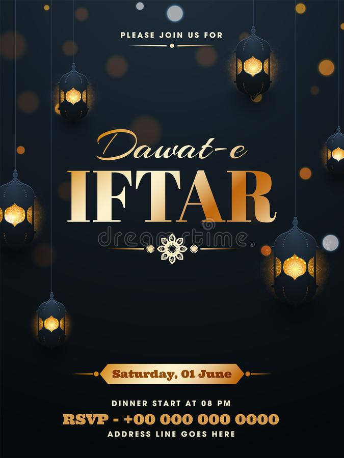 Elegant decoration of illuminated lanterns on gray background with calligraphy text of Dawat-E-Iftar poster or template design stock illustration