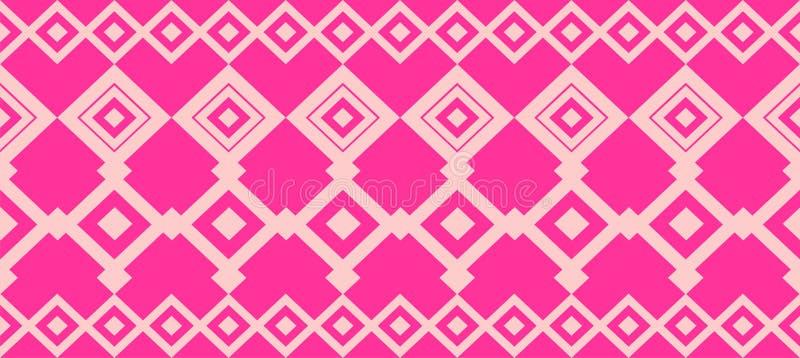 Elegant decorative border made up of square pink and rose stock illustration