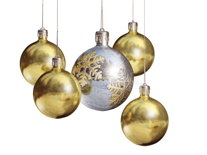 Elegant decorative, isolated christmas baubles. royalty free stock photo