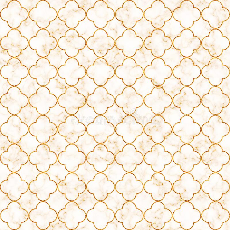 Elegant decorative quatrefoil pattern in golden foil on white marble background with gold veins. Illustration pattern for product. Design, fabric textile royalty free illustration