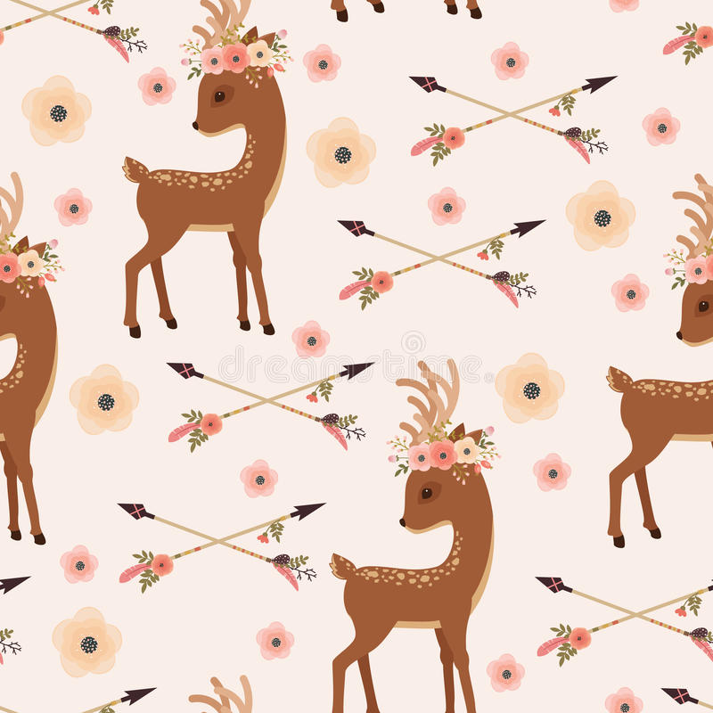Elegant deer in floral wreath with arrows seamless wallpaper stock illustration