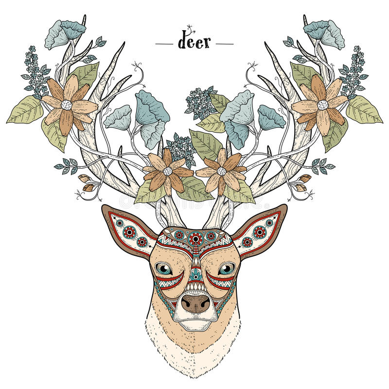 Elegant deer head vector illustration